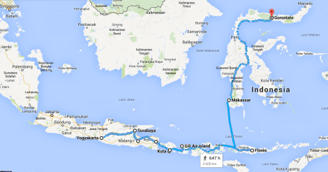 Indonésie Trajet